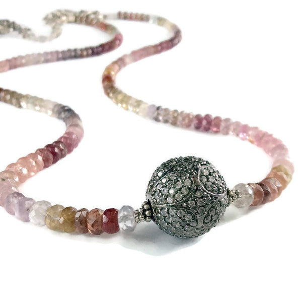 * Ombré Sapphire Pave Bead Necklace ~ Sterling Silver - Van Der Muffin's Jewels
