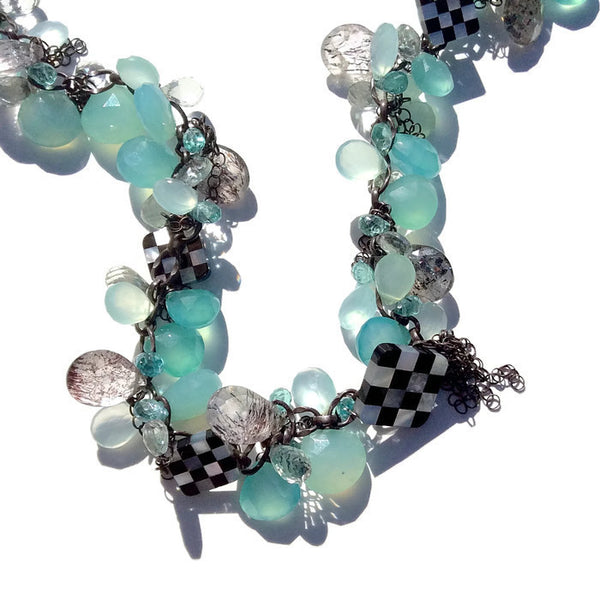 Checkered Cluster Necklace - Van Der Muffin's Jewels - 2