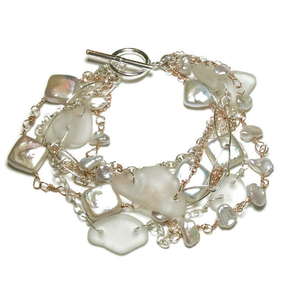 Sea Glass Pearl Bracelet - Van Der Muffin's Jewels
