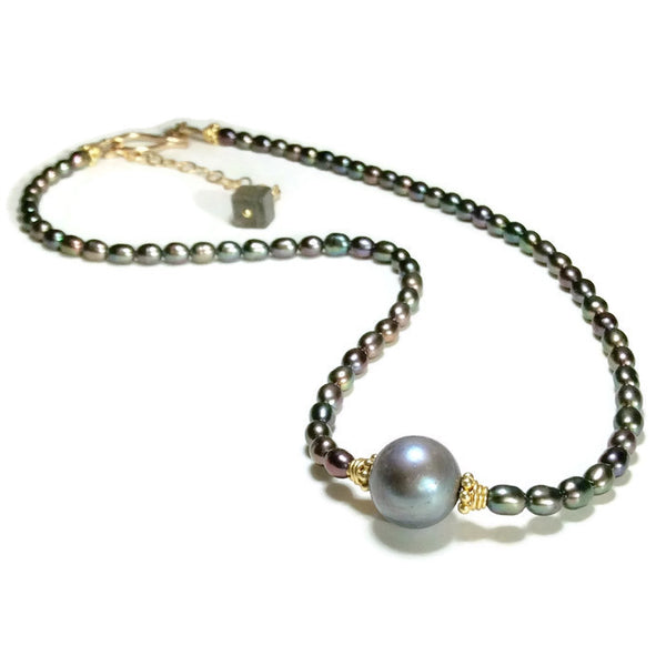 *Luminous Grey Pearl Choker - Van Der Muffin's Jewels