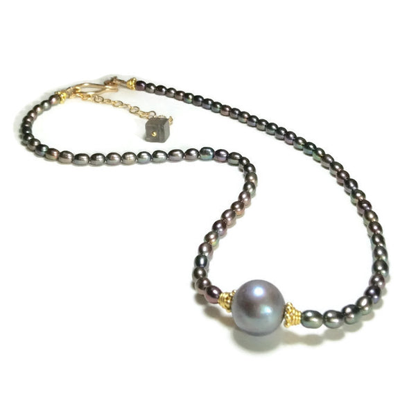 Luminous Grey Pearl Choker - Van Der Muffin's Jewels - 7