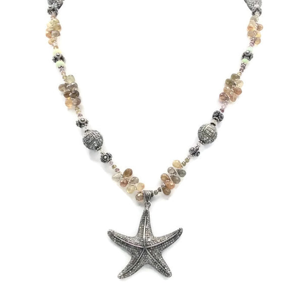 Sapphire Beaded Diamond Starfish Necklace - Van Der Muffin's Jewels - 2
