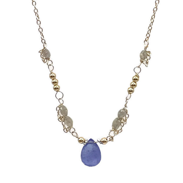 Diamond Beaded Tanzanite Necklace - Van Der Muffin's Jewels - 3