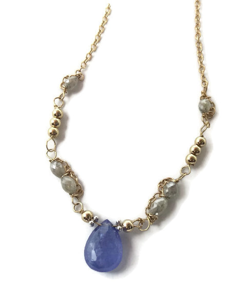Diamond Beaded Tanzanite Necklace