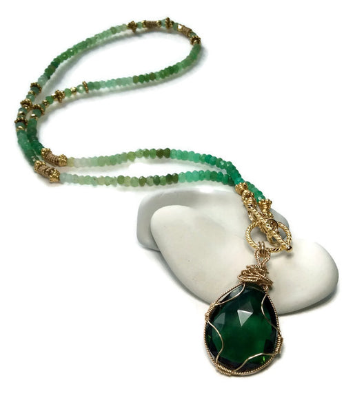 Green Aventurine Toggle Necklace - Van Der Muffin's Jewels - 1