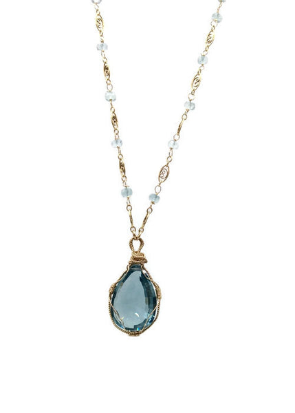 Swiss Blue Topaz Necklace - Van Der Muffin's Jewels - 4