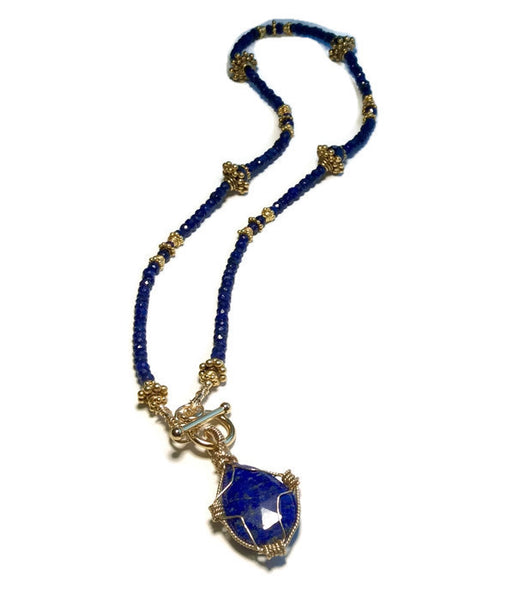 Sapphire & Lapis Toggle Necklace - Van Der Muffin's Jewels - 6