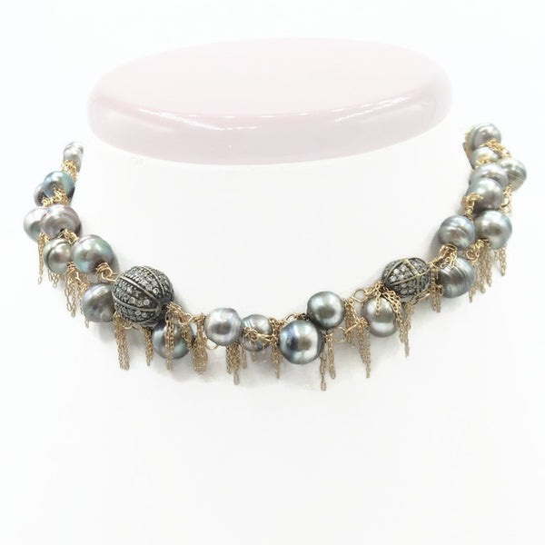 14k Gold Fringed South Sea Pearl Necklace: SOLD - Van Der Muffin's Jewels - 2