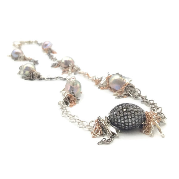 Pave Sapphire Beaded Baroque Pearl Necklace - Van Der Muffin's Jewels