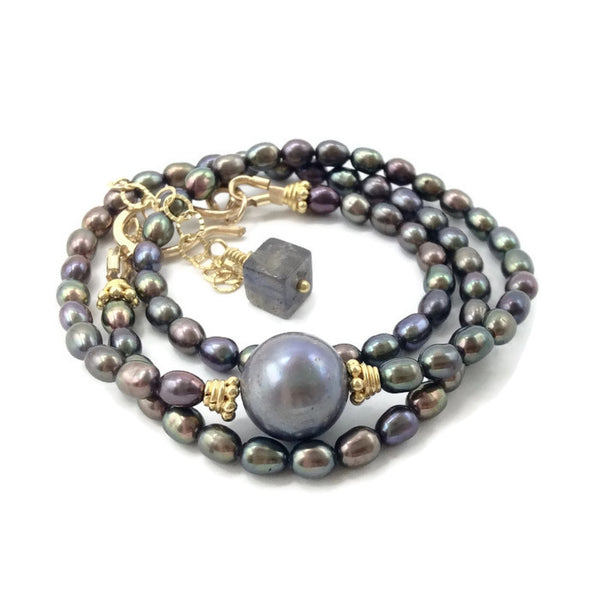 Luminous Grey Pearl Choker - Van Der Muffin's Jewels - 1