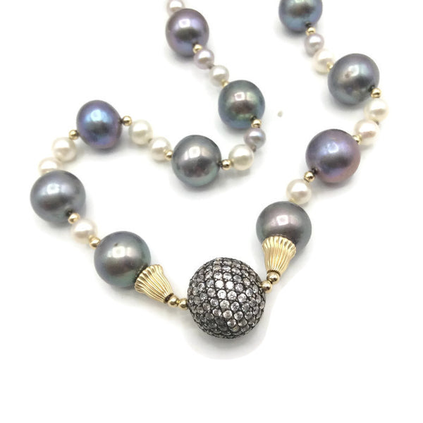 14K Pave Pearl Necklace - Van Der Muffin's Jewels - 1