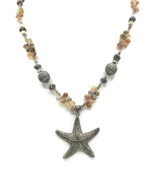 Sapphire Beaded Diamond Starfish Necklace - Van Der Muffin's Jewels - 4