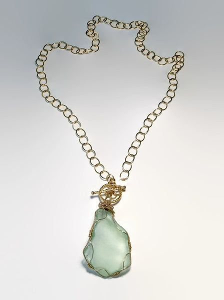 Aqua Sea Glass Toggle Necklace - Van Der Muffin's Jewels - 4