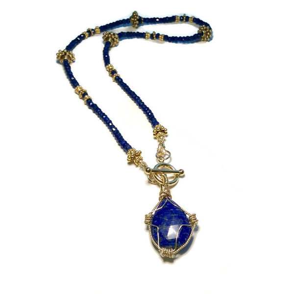 Sapphire & Lapis Toggle Necklace - Van Der Muffin's Jewels