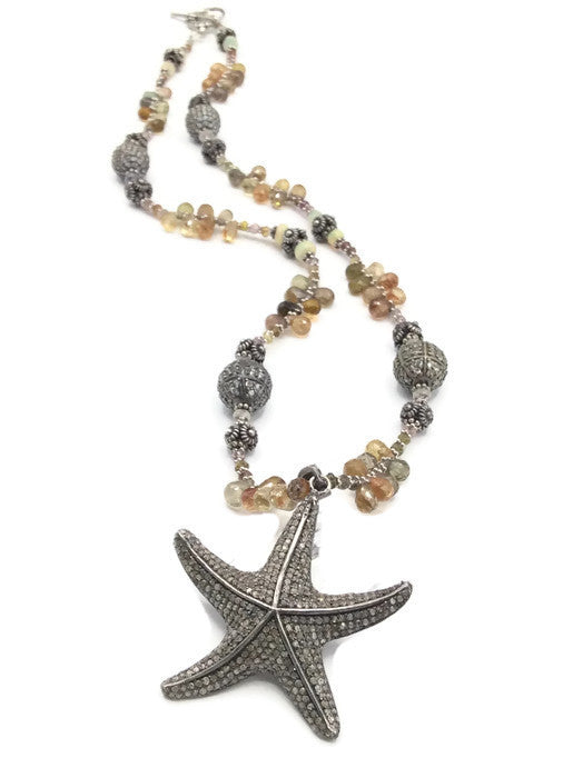 Pave Diamond Starfish Necklace: SOLD