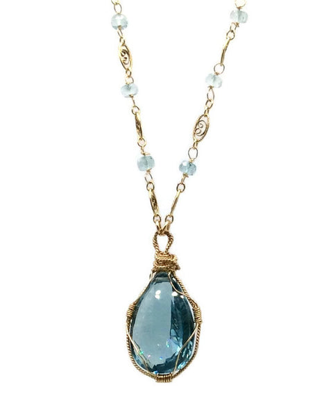 Swiss Blue Topaz Necklace - Van Der Muffin's Jewels - 2