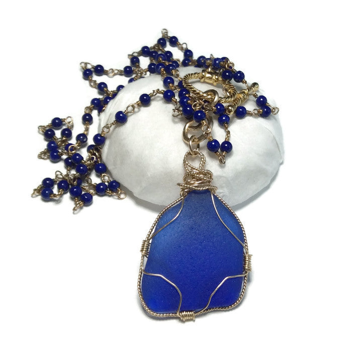 Hamptons Beaded Sea Glass Necklace - Cobalt - Van Der Muffin's Jewels