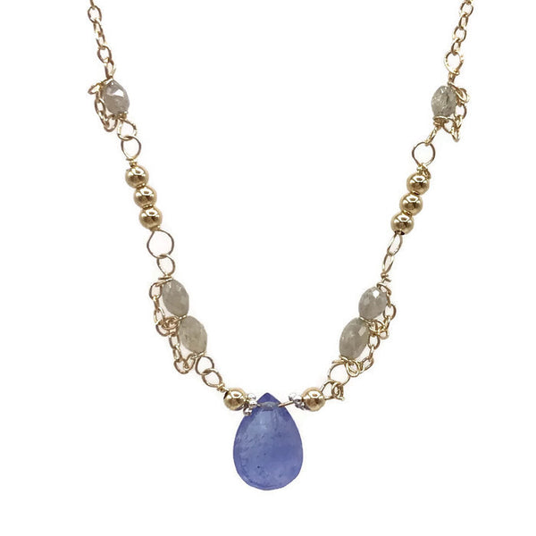 Diamond Beaded Tanzanite Necklace - Van Der Muffin's Jewels - 1