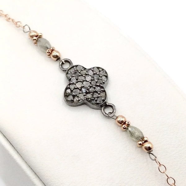 Pave Diamond Clover Bracelet - Van Der Muffin's Jewels - 3