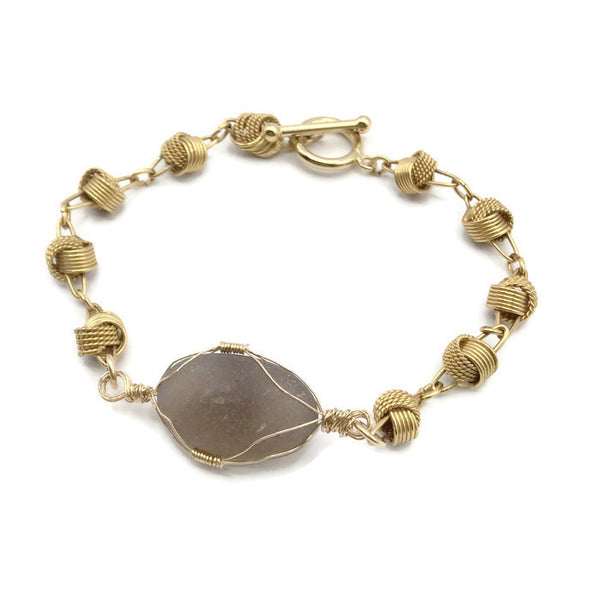 *Rare Gray Sea Glass Bracelet - Van Der Muffin's Jewels