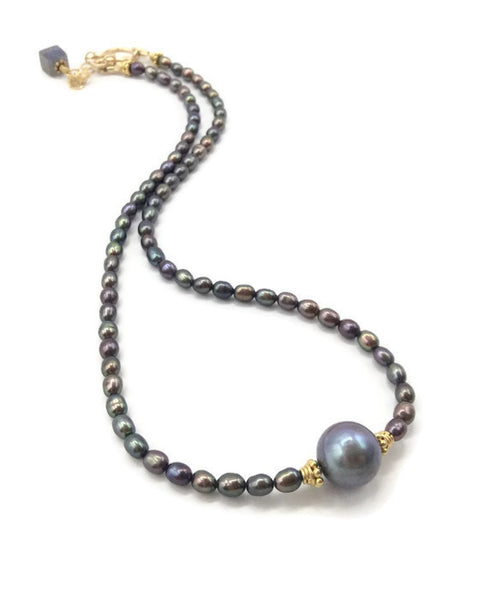 Luminous Grey Pearl Choker - Van Der Muffin's Jewels - 8