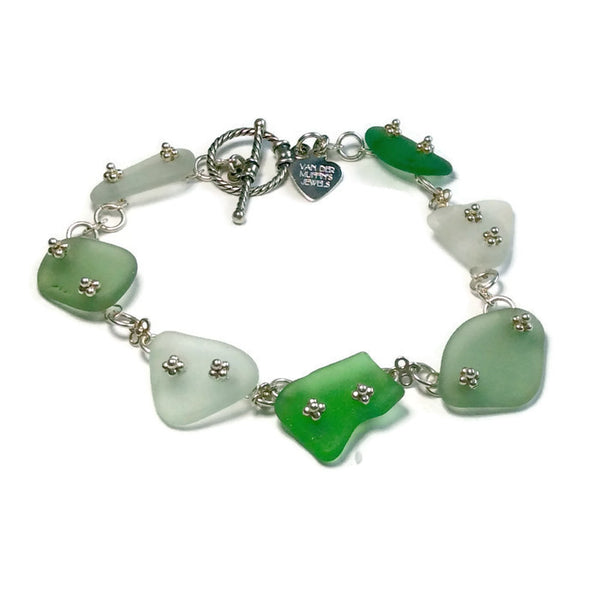 multi color sea glass bracelet
