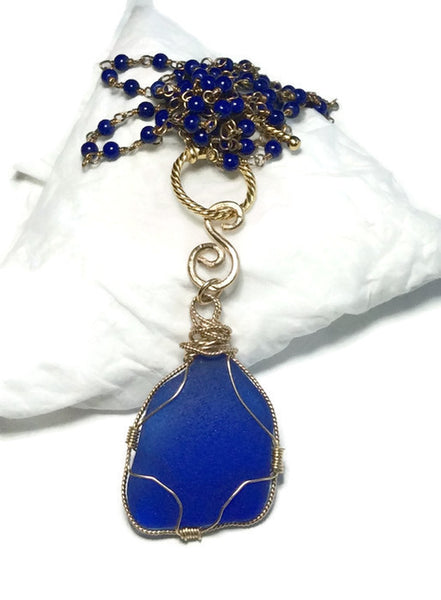 Cobalt Sea Glass Necklace - Van Der Muffin's Jewels