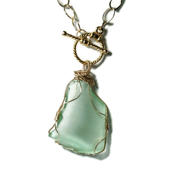 Aqua Sea Glass Toggle Necklace - Van Der Muffin's Jewels - 2
