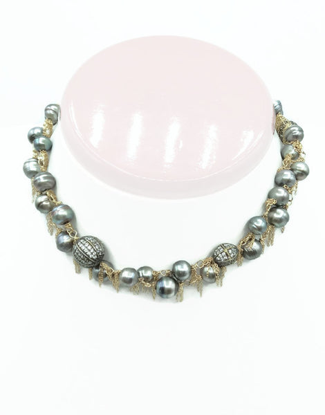14k Gold Fringed South Sea Pearl Necklace: SOLD - Van Der Muffin's Jewels - 6