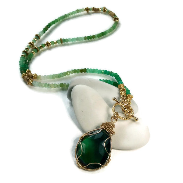 Green Aventurine Toggle Necklace - Van Der Muffin's Jewels - 3