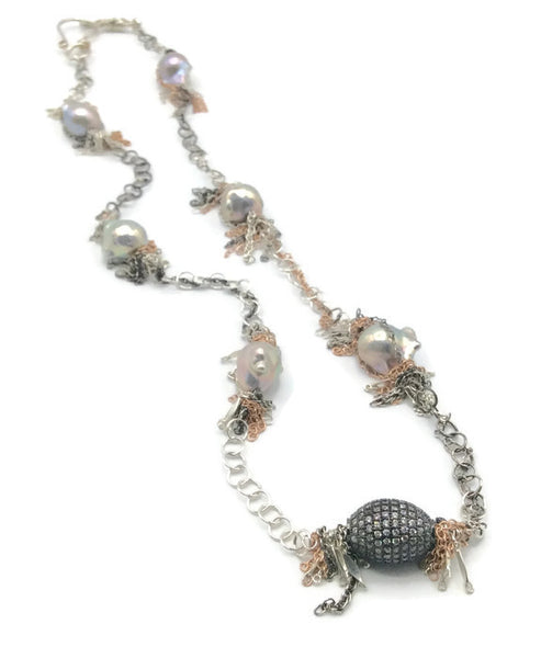 Fringed Pearl Necklace - Van Der Muffin's Jewels - 3