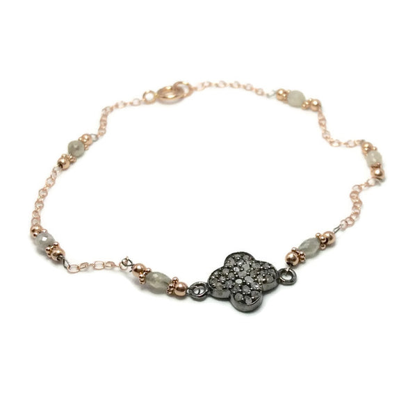 Pave Diamond Clover Bracelet - Van Der Muffin's Jewels - 5