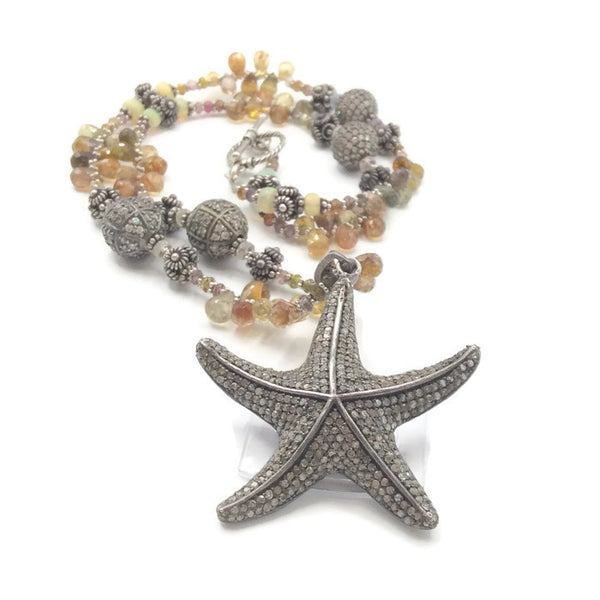 Sapphire Beaded Diamond Starfish Necklace - Van Der Muffin's Jewels - 1