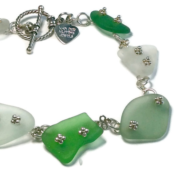 mixed sea glass bracelet