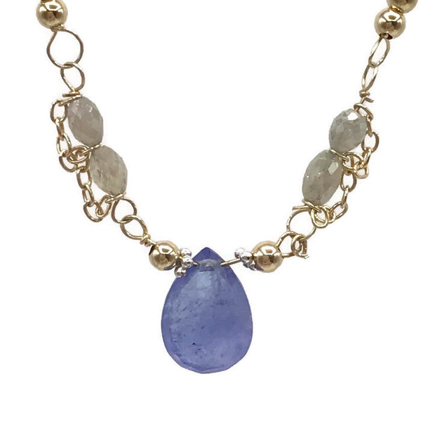 Diamond Beaded Tanzanite Necklace - Van Der Muffin's Jewels - 4