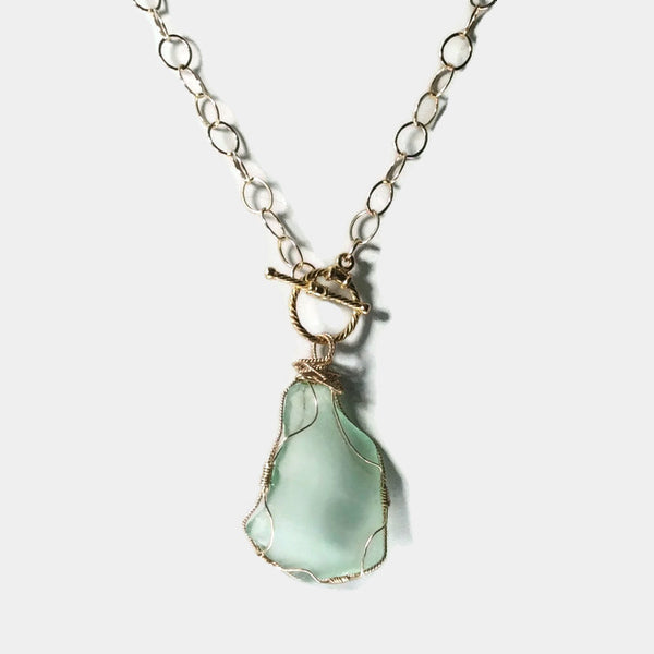 Aqua Sea Glass Toggle Necklace - Van Der Muffin's Jewels - 5