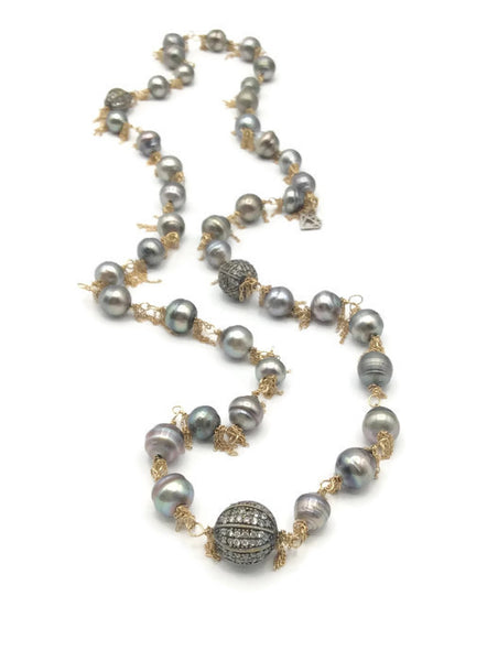 14k Gold Fringed South Sea Pearl Necklace: SOLD - Van Der Muffin's Jewels - 5