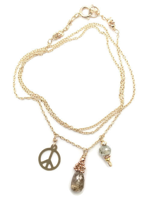 Three Wishes Champagne Diamond Necklace - Van Der Muffin's Jewels - 1