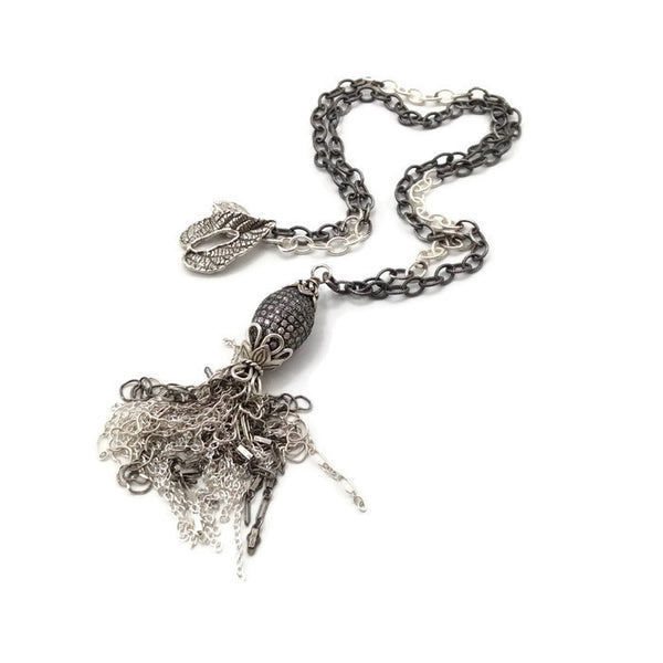 * While Sapphire Tassel Necklace ~ Sterling Silver - Van Der Muffin's Jewels