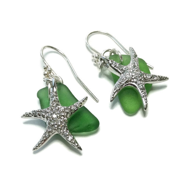 Hamptons Sea Glass Starfish Earrings - Green - Van Der Muffin's Jewels