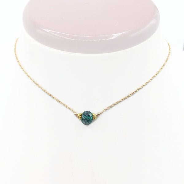 2.6 Carat Fancy Blue Diamond Necklace In 14K Yellow Gold - Van Der Muffin's Jewels - 6