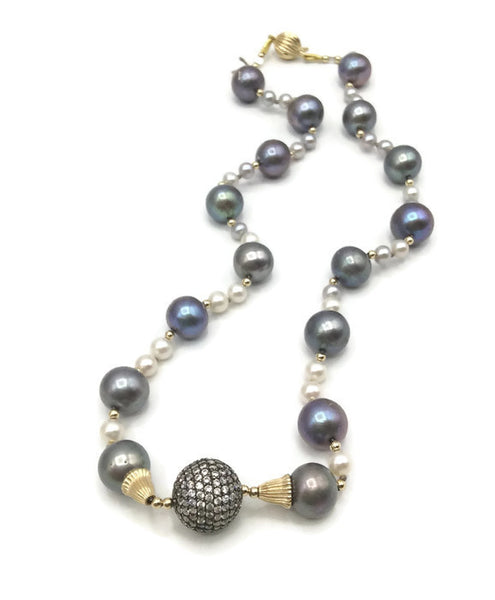 14K Pave Pearl Necklace - Van Der Muffin's Jewels - 9