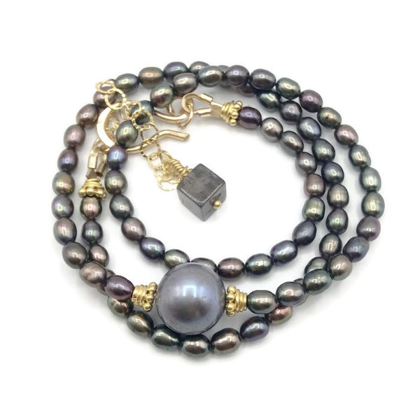Luminous Grey Pearl Choker - Van Der Muffin's Jewels - 4