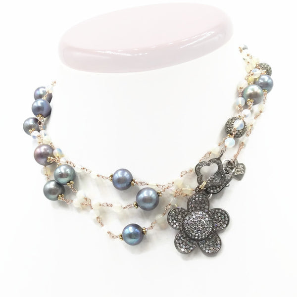 Pave Sapphire Daisy Necklace: SOLD - Van Der Muffin's Jewels