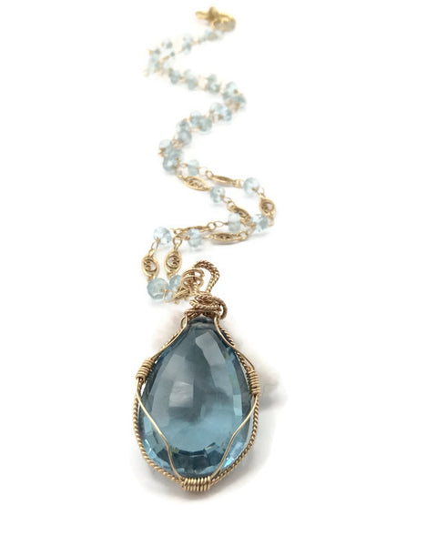 Swiss Blue Topaz Necklace - Van Der Muffin's Jewels - 1