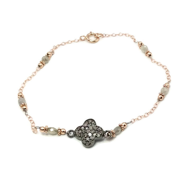 Pave Diamond Clover Bracelet - Van Der Muffin's Jewels - 1