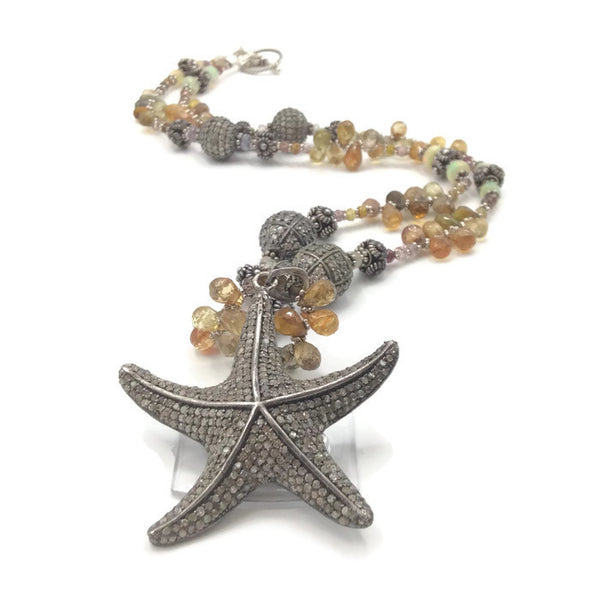 Sapphire Beaded Diamond Starfish Necklace - Van Der Muffin's Jewels - 3