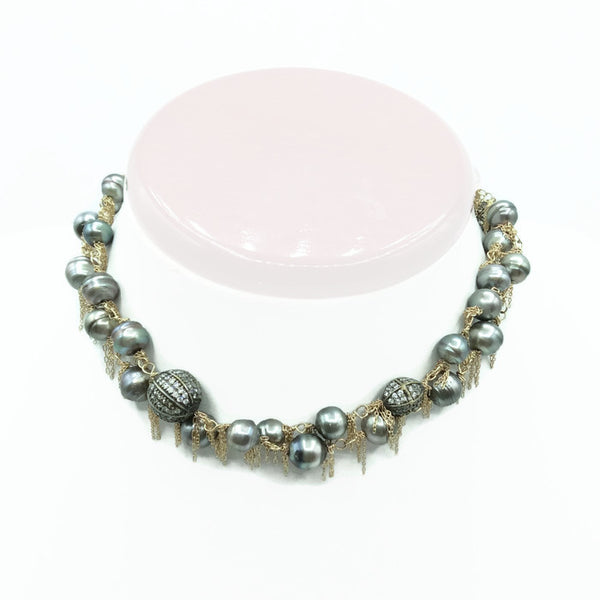 14k Gold Fringed South Sea Pearl Necklace: SOLD - Van Der Muffin's Jewels - 3