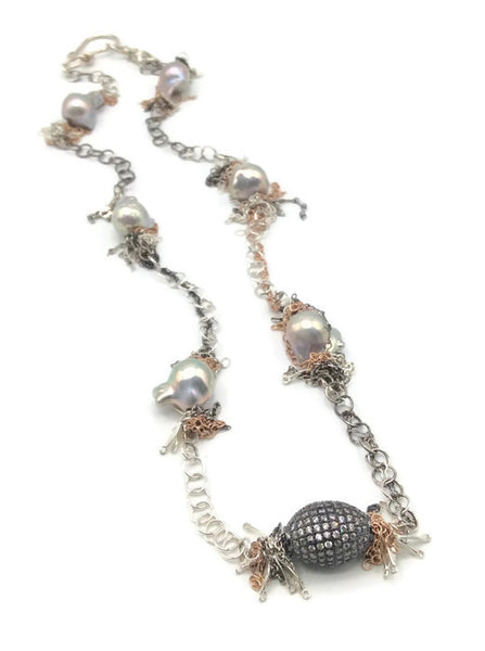 Fringed Pearl Necklace - Van Der Muffin's Jewels - 4