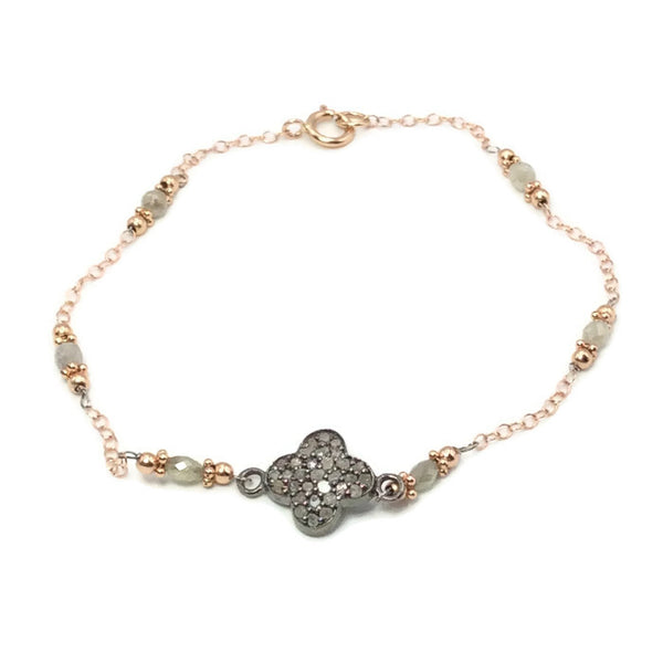 Pave Diamond Clover Bracelet - Van Der Muffin's Jewels - 2